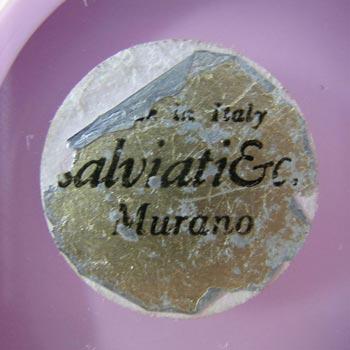 Salviati Murano Pink Glass Gold Leaf Bowl - Labelled
