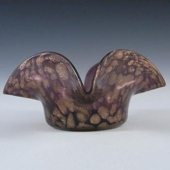 Salviati Copper Aventurine & Purple Glass Finger Bowl