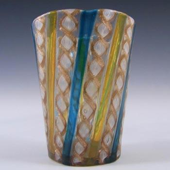 Salviati Murano Zanfirico & Aventurine Glass Tumbler/Vase