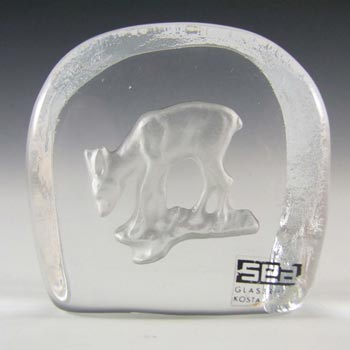 Sea Glasbruk Glass Paperweight Fawn Sculpture - Label