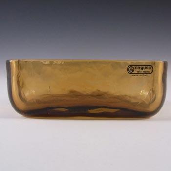 Seguso Vetri d'Arte Murano Amber Glass Bowl - Labelled