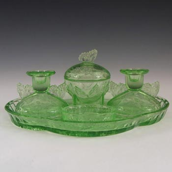 Sowerby Art Deco Green Glass Butterfly Trinket Set