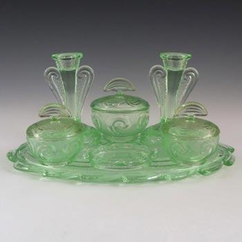 Bagley #3078 Art Deco Green Glass 'Rutland' Trinket Set