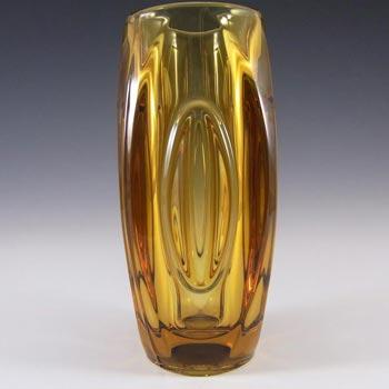 Rosice Sklo Union Amber Glass Lens Vase Rudolf Schrötter