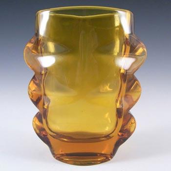 Sklo Union 1970s Rosice Amber Glass Vase - Pattern 1272
