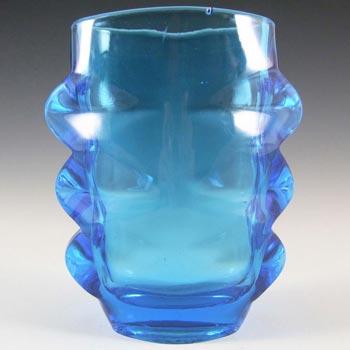 Sklo Union 1970s Rosice Blue Glass Vase - Pattern 1272