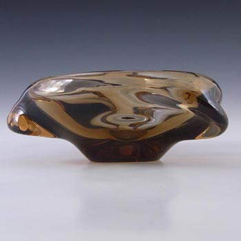 Skrdlovice Czech Smokey Amber Glass Sculpture Bowl