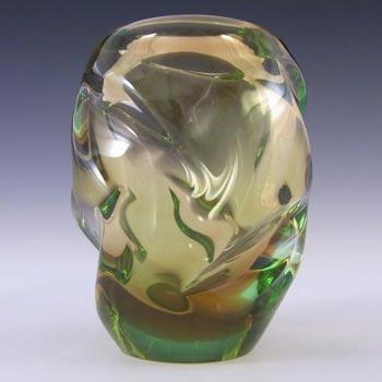 Skrdlovice #5530 Czech Amber & Green Glass Vase by Frantisek Zemek