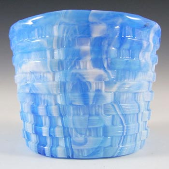 Antique Victorian 1890s Blue Malachite/Slag Glass Bowl
