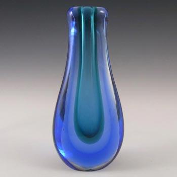 Murano 1950's Turquoise & Blue Sommerso Glass Stem Vase