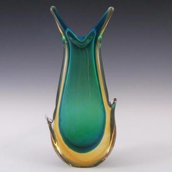 Murano 1950's Green & Amber Sommerso Glass Vase