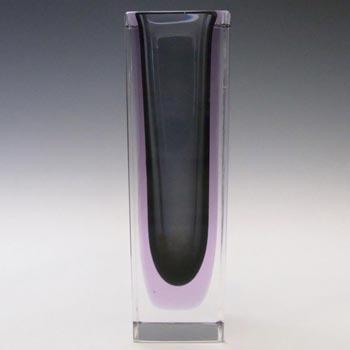 Murano Faceted Neodymium Sommerso Glass Block Vase