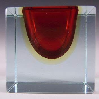 Murano Sommerso Faceted Red & Amber Glass Block Bowl