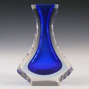 Mandruzzato Murano/Sommerso Textured Blue Glass Vase