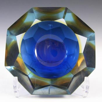 Large Murano Faceted Blue & Amber Sommerso Glass Bowl