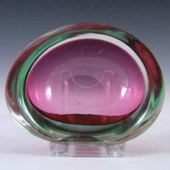 Murano Geode Pink & Blue Sommerso Glass Kidney Bowl