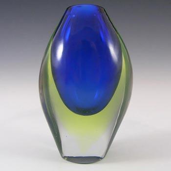 Murano/Venetian Blue & Uranium Green Sommerso Glass Vase