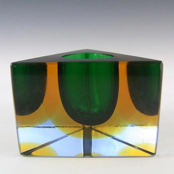 Murano/Sommerso Faceted Green Glass Block Vase/Bowl