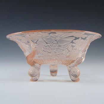 Sowerby Art Deco 1930's Pink Glass 'Dolphin' Bowl