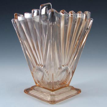 Sowerby Art Deco Pink Glass 'Sunburst / Sunray' Vase - Marked