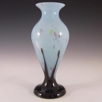 Czech 1930's Blue + Black Spatter/Splatter Glass Vase