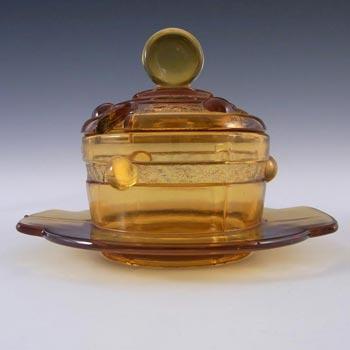 Stölzle #19417 Czech Art Deco 1930's Amber Glass Bowl