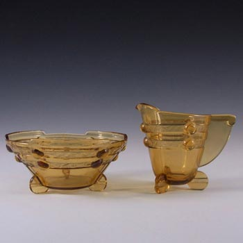 Stölzle #19413 Art Deco 1930's Amber Glass Jug + Bowl Set