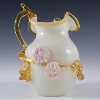 Victorian Uranium Custard Glass Amber & Ivory Flower Vase/Jug