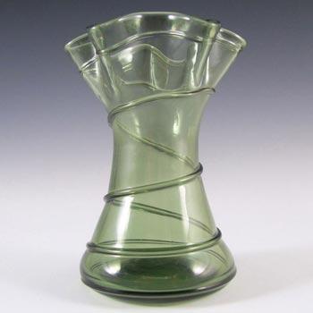 Stuart & Sons Victorian British Green Glass Trails Vase
