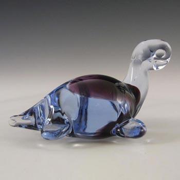 Czech? Blue + Green Cased Glass Tortoise Paperweight