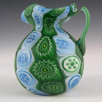 Fratelli Toso Millefiori Canes Murano Blue + Green Glass Jug