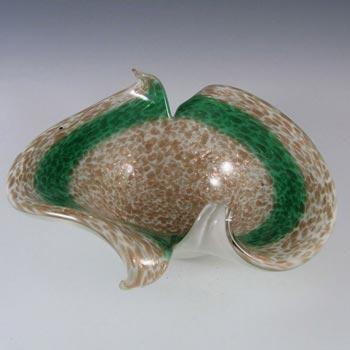 Fratelli Toso Murano Copper Aventurine Green Glass Bowl