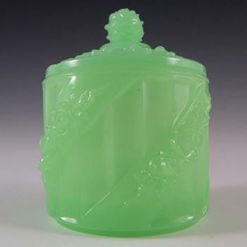 S. Reich Czech Art Deco Uranium Jade Green Glass Pot/Dish