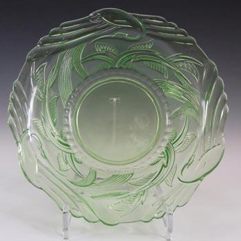 Art Deco 1930's Uranium Green Glass 'Heron' Bowl