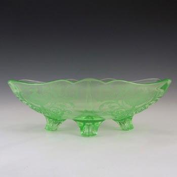 Cambridge Green Art Deco/Depression Glass Bowl - Etched Urn
