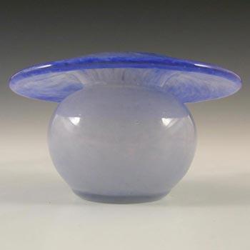 Vasart Signed British Blue Mottled Glass Posy Vase V003