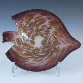 Vetro Artistico Veneziano Murano Silver Leaf Cream Glass Bowl