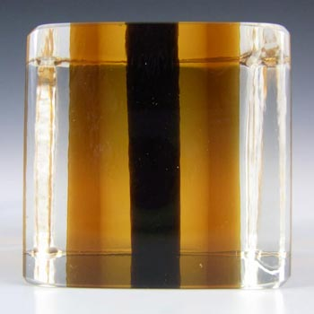 Venini Signed Murano Sommerso Glass Cube Block Paperweight