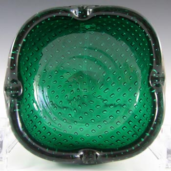 Venini Murano Green Glass Bullicante Bowl by Carlo Scarpa