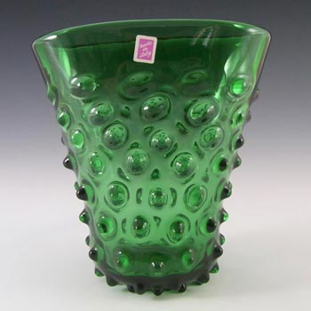 Empoli Verde Italian Green Glass Spikey Seed Vase - Label