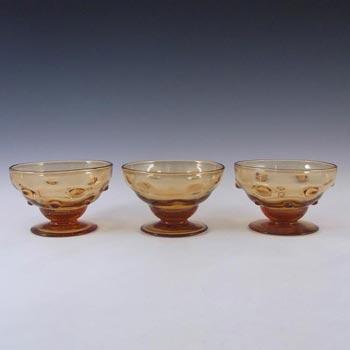 3 x Thomas Webb Amber Glass 'Bullseye' Bowls - Marked