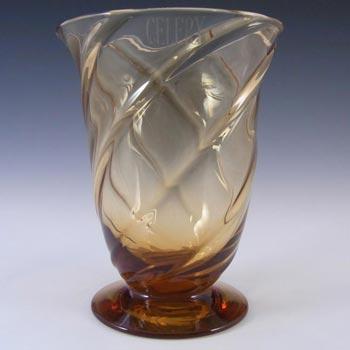 Thomas Webb Stourbridge Amber Glass Vase - Marked