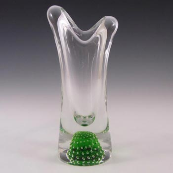 Thomas Webb Green Glass 'Flair' Bubble Vase - Marked