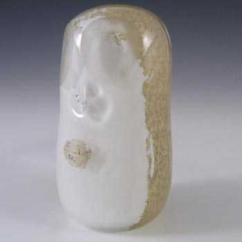 Wedgwood Cream + White Glass Owl Paperweight - Marked