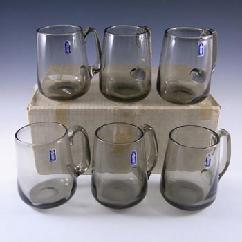 Whitefriars #9262 Set of 6 Smokey Glass Tankards - Boxed + Labelled