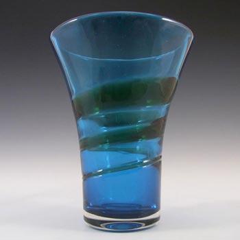 Whitefriars #9709 Baxter Blue/Green Glass Ribbon Trail Vase