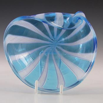 Murano Blue & White Glass Zanfirico Filigree Bowl