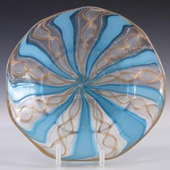 Murano Zanfirico Filigree Blue Ribbon Glass Plate / Dish