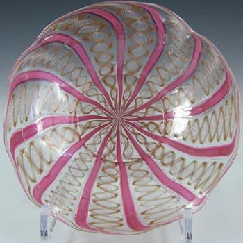 Salviati Zanfirico & Aventurine Pink Glass Plate