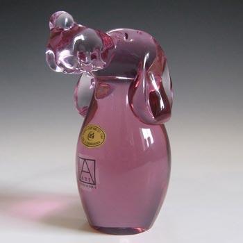 Zelezny Brod Czech Neodymium Pink Glass Dog - Label